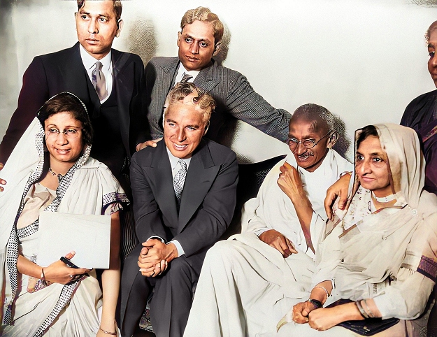 chaplin with mahatma gandhi and family