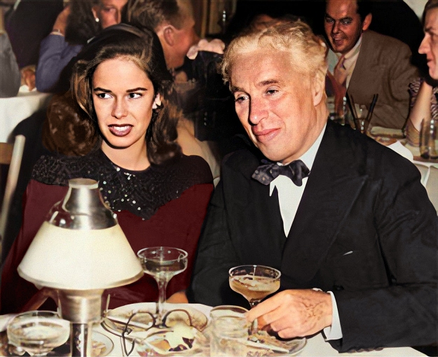 chaplin with oona o'neill in 1943