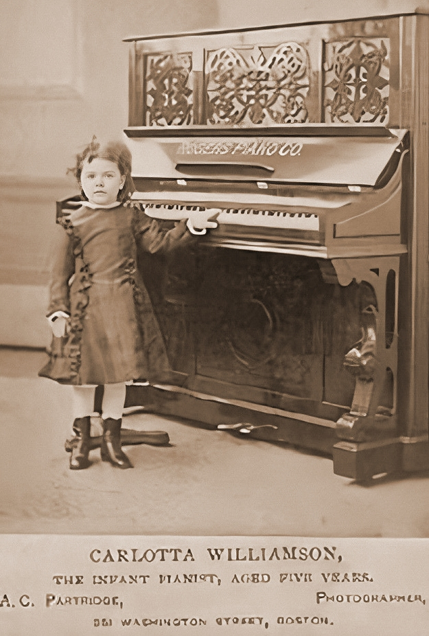 carlotta williamson, 'the infant pianist', at five.