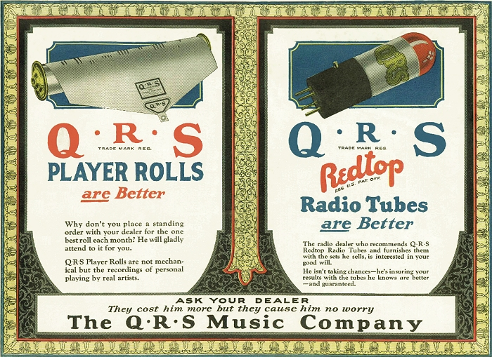 late 1920s ad for qrs rolls and tubes