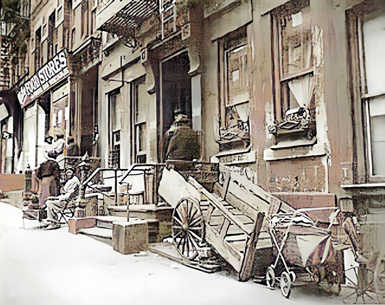 a street scene from san juan hill in new york city around 1910